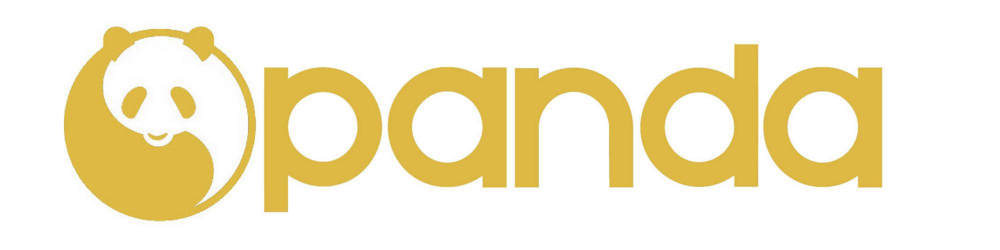 Panda Logo Text Gold & White 2000 x 500